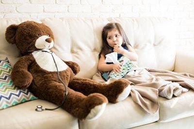 Home sick with teddy bear